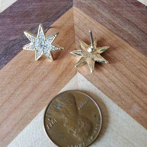Gold tone diamond encrusted star studs